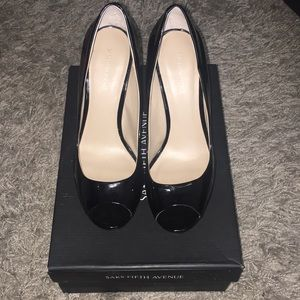 Sacks Fifth Ave Black Bethany patent leather